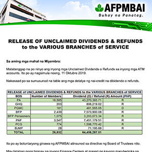 Release Of Unclaimed Dividends Refunds To The Various Branches Of Service Afpmbai